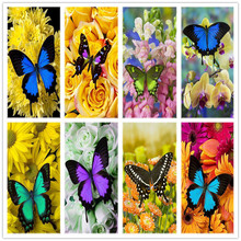 Diamond Embroidery Diamond Mosaic Paintings Flowers Butterfly 5d Diy Diamond Painting Cross Stitch Home Decor Christmas Gift dazzle butterfly prints diamond paintings