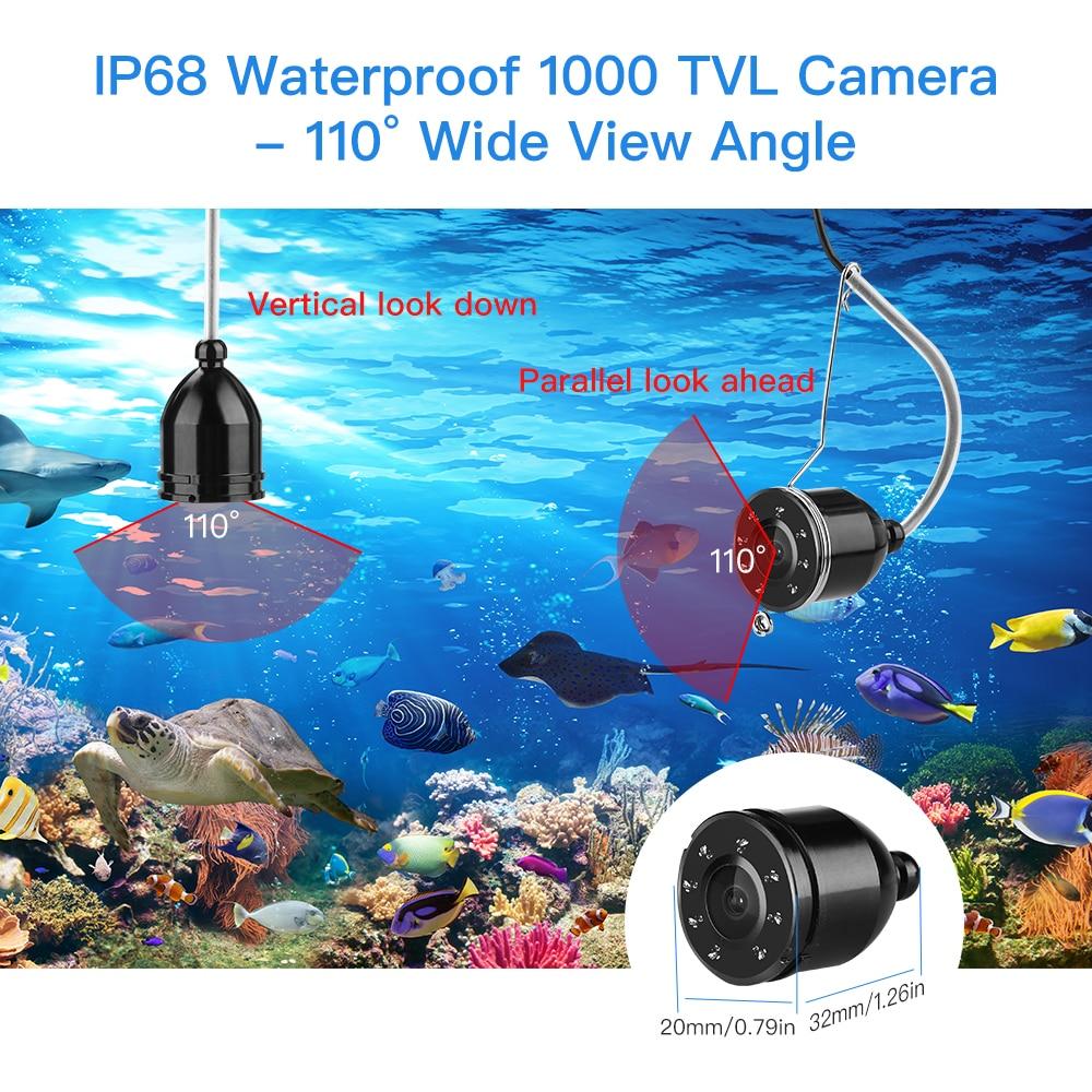 Eyoyo Video buscador de peces 4,3 pulgadas HD Monitor 8 lámpara LED impermeable Cámara subacuática visión nocturna para equipo de pesca al aire libre - 4