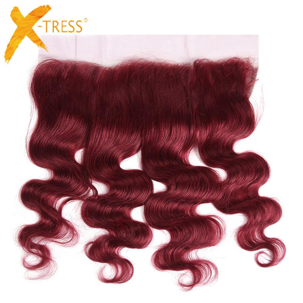 Bourgogne couleur rouge vague de corps cheveux humains dentelle frontale X-TRESS brésilien Non-Remy 13x4 pouces oreille à oreille moyen/libre pièces fermetures