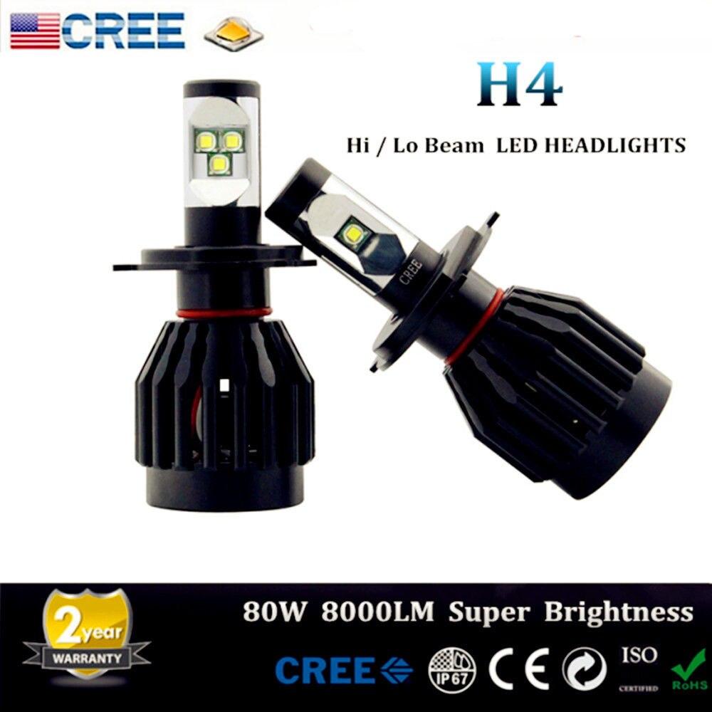Promotion! One Pair High Power 80W 9000LM H4 9003 HB2 Car/Truck CREELED Headlight Kit Driving Lamp H/L Dual Beam Bulb Kit Black