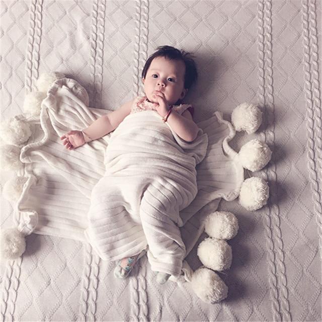 Nordic couette enfan кондиционер муслин пеленать декоративные детское одеяло с мячом вязание новорожденный фотографии реквизит подарок