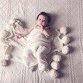 Nordic couette enfan aire acondicionado manta de bebé muselina swaddle decorativo con la bola que hace punto del recién nacido apoyos de la fotografía regalo
