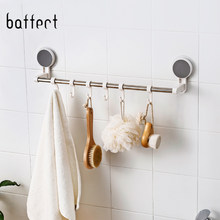 Bathroom Towel Bar Seamless Vacuum Suction Cup Racks Hanger with 6 Hooks Wall Corner Clothes Hooks Kitchen Accessories(China)