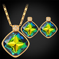 Jewelry Sets For Women Gift Fancy Stud Earrings And Necklace Set Gold Plated Wedding Austrian Crystal Jewelry Set PE344
