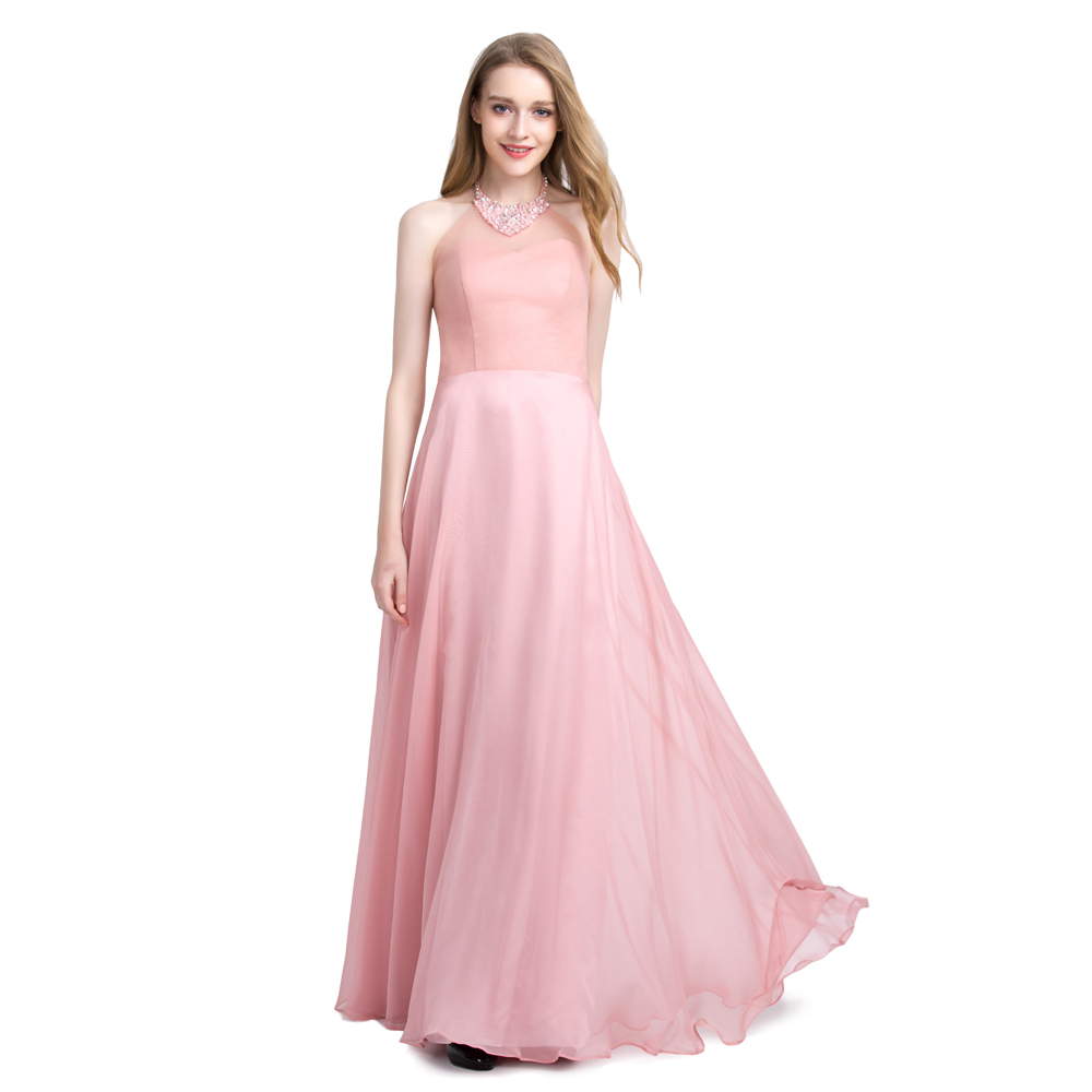 BeryLove Long Blush Pink Tulle Evening Dresses 2018 Beaded Halter Prom  Dresses Formal Evening Gowns Women Prom Party Dress-in Evening Dresses from  Weddings ... 85942348a540