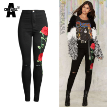 Achiewell Spring Casual Women Jeans Knee Hole High Waist 3D Rose embroidery Black Women Jeans Bottoms