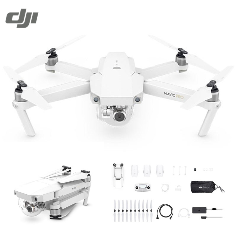 DJI Mavic Pro Alpine White OcuSync Transmission WIFI FPV Combo With 3-Axis Gimbal 4K Camera RC Quadcopter Selfie Drone with two batteries yuneec q500 4k camera with st10 10ch 5 8g transmitter fpv quadcopter drone handheld gimbal case