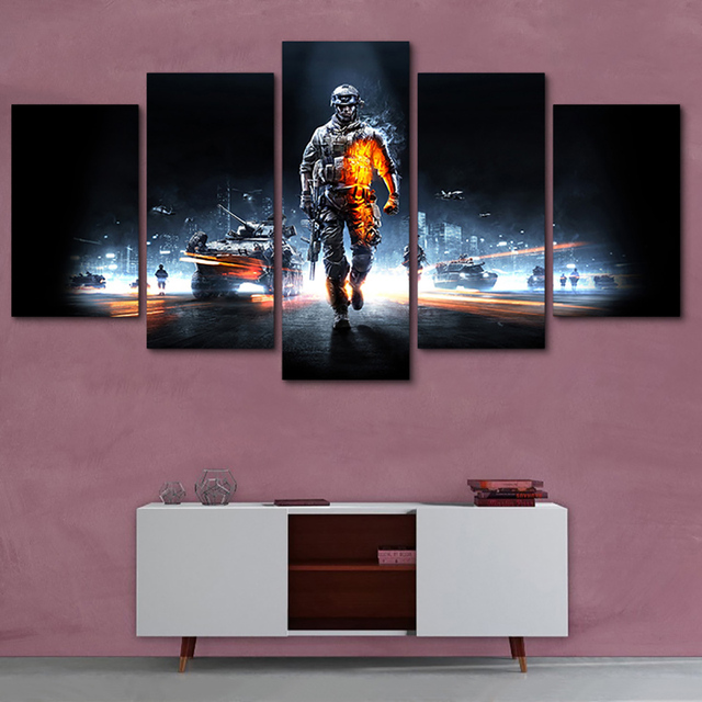 Pictures Framed HD Printed Modern Decor Living Room Wall Art 5 Panel Battlefield Male Warrior Game Home Painting Modular Canvas 2