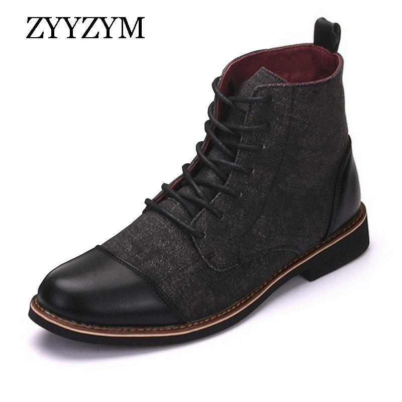 ZYYZYM Men Ankle Boots Spring Autumn Casual Lace Up Shoes Booties Oxfords Fashion Leather Boots Men Boots Large Size 39-48
