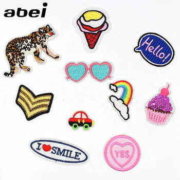1PC Iron On Leopard Patches Cartoon Car Ice Cream Glasses Rainbow Fabric Stickers DIY Jeans Bags Coats Badge Garments Appliques image
