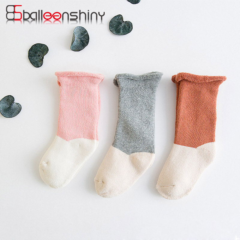 BalleenShiny 3 pairs/set Kids Infant Terry Multicolor Socks Newborn Baby Cute Cotton Thick Boy Girl Socks for 0-6 years Child