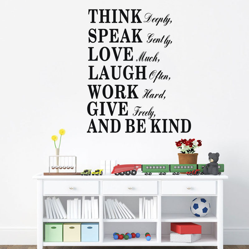 Think Speak Love Laugh Be Kind Inspiring Quotes Wall Stickers Kids Living  Room Bedroom Vinyl Mural