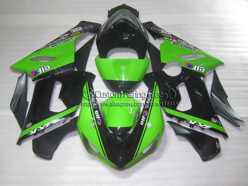 Инъекций Новый мотоцикла для Kawasaki ZX 6R 05 06 Обтекатели ниндзя 636 ZX6R 2005 2006 черный зеленый комплект обтекателей za92