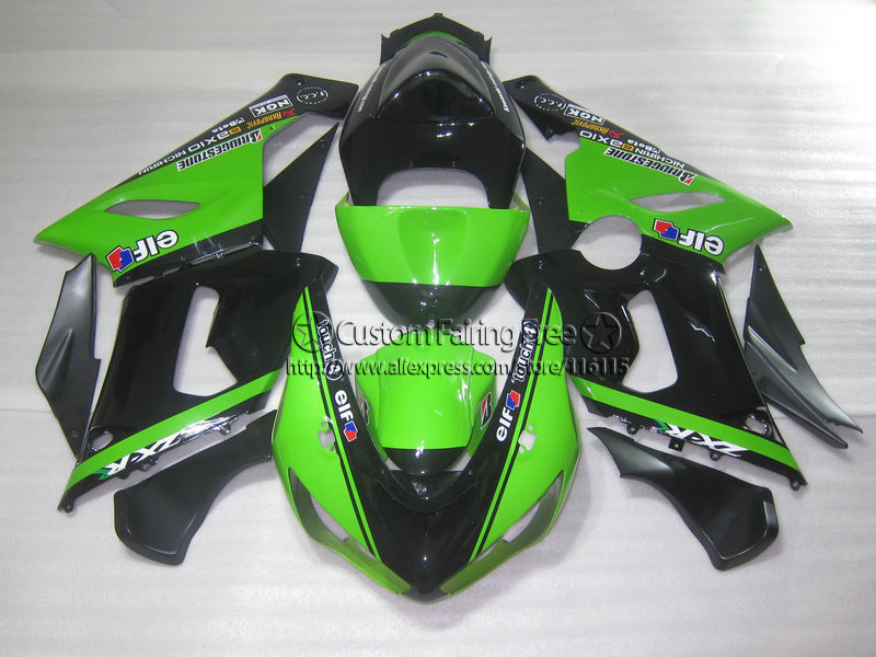 цены  Injection new motorcycle parts for Kawasaki ZX-6R 05 06 fairings ninja 636 zx6r 2005 2006 black green fairing kit ZA92
