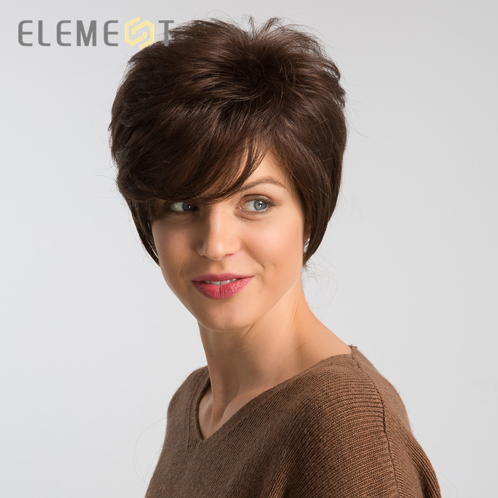 Element 6 Inch Short Brown Synthetic Wig Mix 50% Human Hair Left Side Parting Pixie Cut Cosplay Party Work Wigs For Women