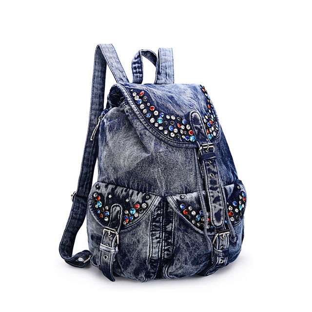 New Brand Casual Denim Blue bag with belt Women s Shoulder Bag ladies Jean Backpack  Travel college Bags girls cute book bags man 7ea299bbc1776