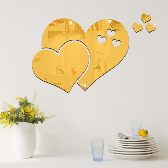 1pc Removable Multicolor 3D Mirror Love Hearts Wall Sticker DIY ...