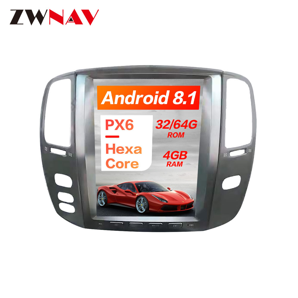 Tesla style Android 8 1 PX6 4GB RAM Car GPS Navigation For Lexus LX470 LX 470