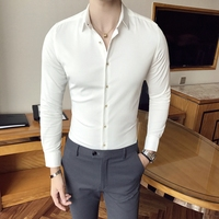 High Quality Men Shirt Solid 2018 Spring Slim Fit Business Shirts Men Long Sleeve Plus Size Fashion Designer Dress Shirt Male