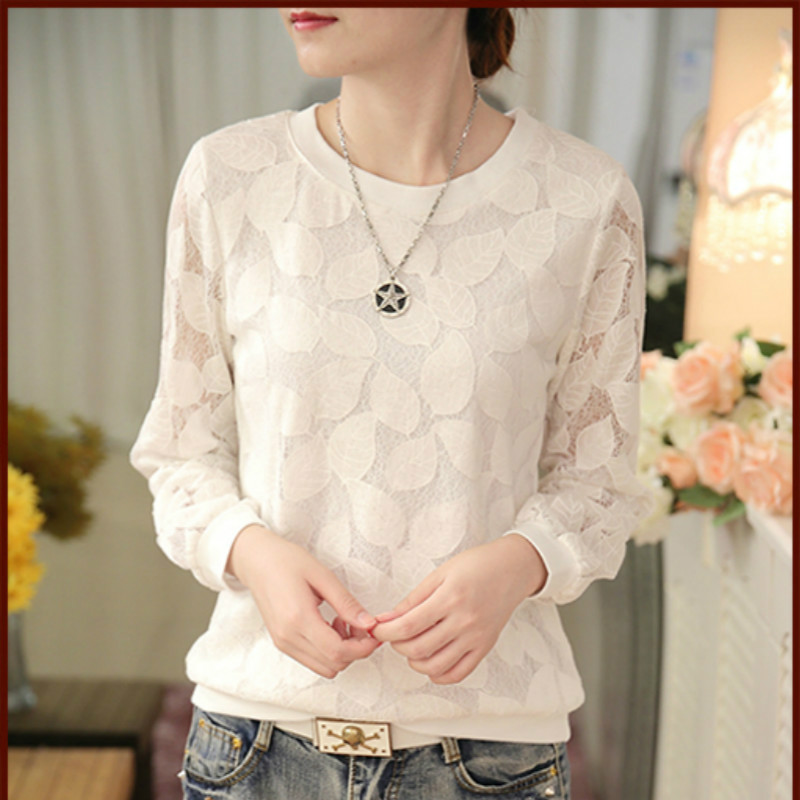 2019 New Arrival Spring Solid Color Women Lace Shirt  Fashion Korean Female  Long Sleeve Casual Style Blouse 501H 25