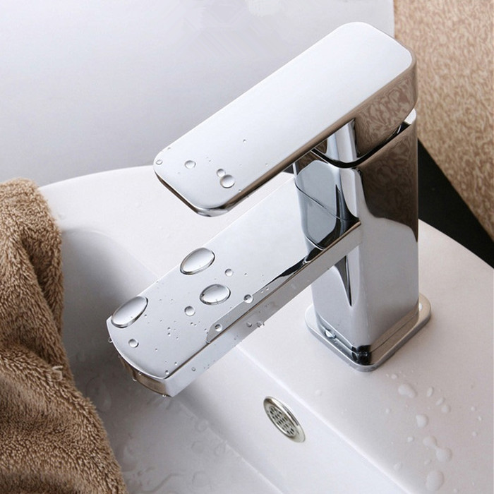 100 Brass Single Hole Bathroom Faucet Basin Faucets Hot And Cold Water Mixer Tap 2 Pcs Hoses In