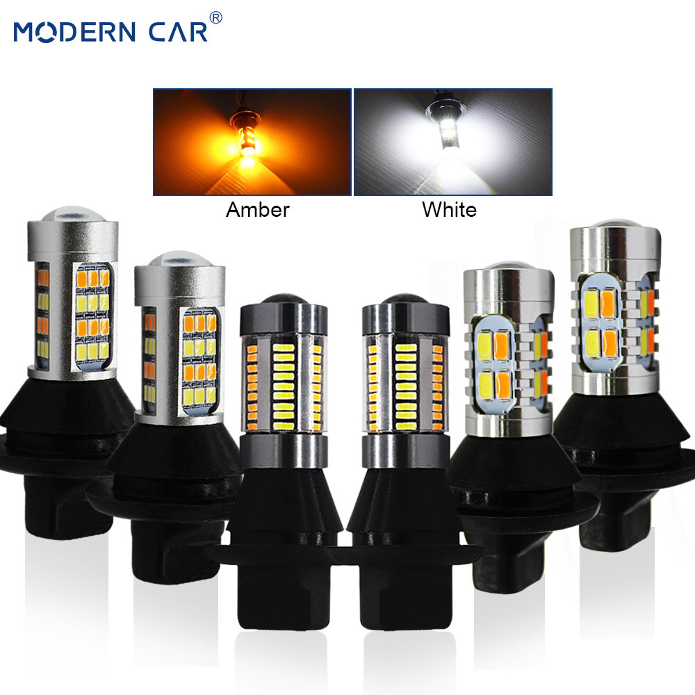 MODERN CAR S25 BA15S BAU15S 1156 T20 7440 DRL Turn Signal Light Canbus Error Free White Amber Fog Lamp LED Bulbs Turning Lights car led t20 7440 wy21w 1156 bau15s bay15s daytime running light