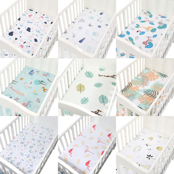 100% Cotton Crib Fitted Sheet Soft Baby Bed Mattress Cover Protector Elastic Bed Sheet Cartoon Newborn Bedding Woven Bed Sheets sweet jojo designs elizabeth fitted crib sheet