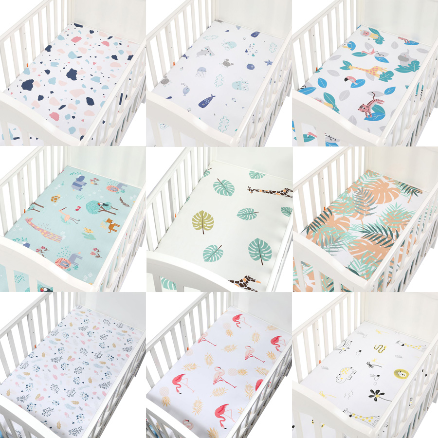 100% Cotton Crib Fitted Sheet Soft Baby Bed Mattress Cover Protector Elastic Bed Sheet Cartoon Newborn Bedding Woven Bed Sheets