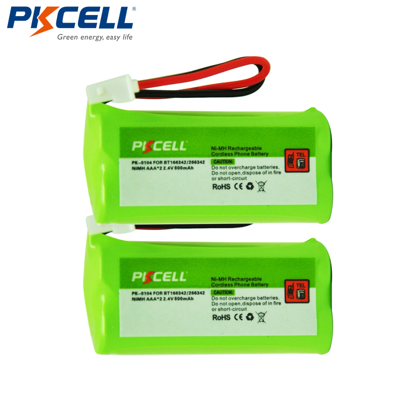 2Pcs PKCELL Ni-MH Battery Pack AAA 800mAh 2.4V NiMH Rechargeable Cordless Phone Battery for VTech BT166342 BT266342