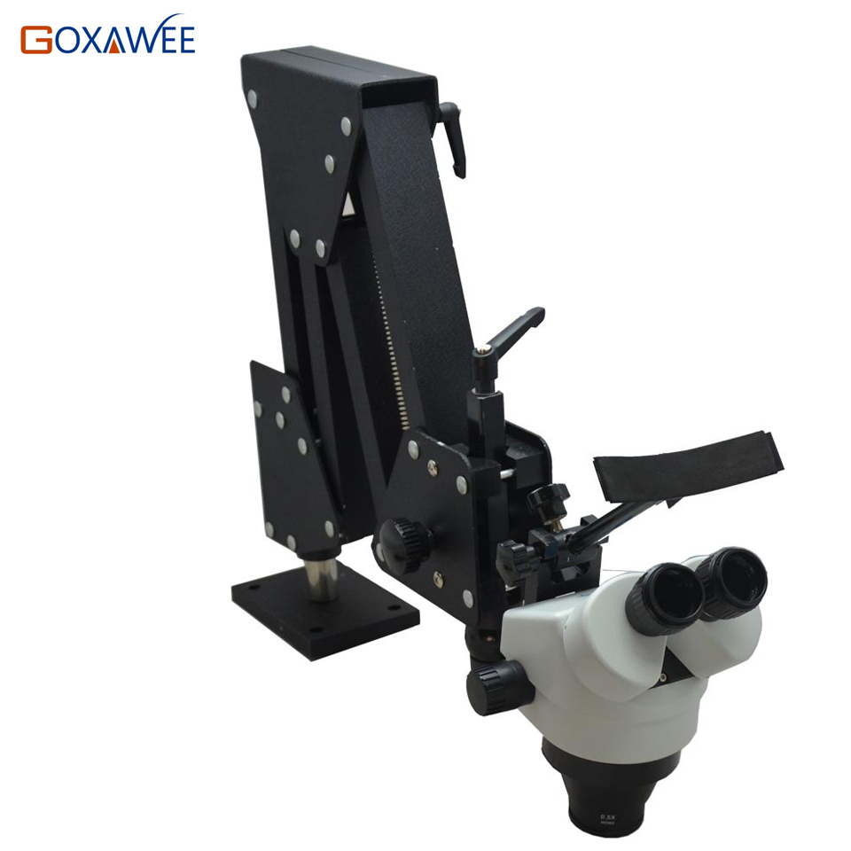 H-Q Professionnel 7-45X Binoculaire Microscope 200-500mm Zoom Bras Articulé Stéréo Microscope Avec Longue Distance De Travail