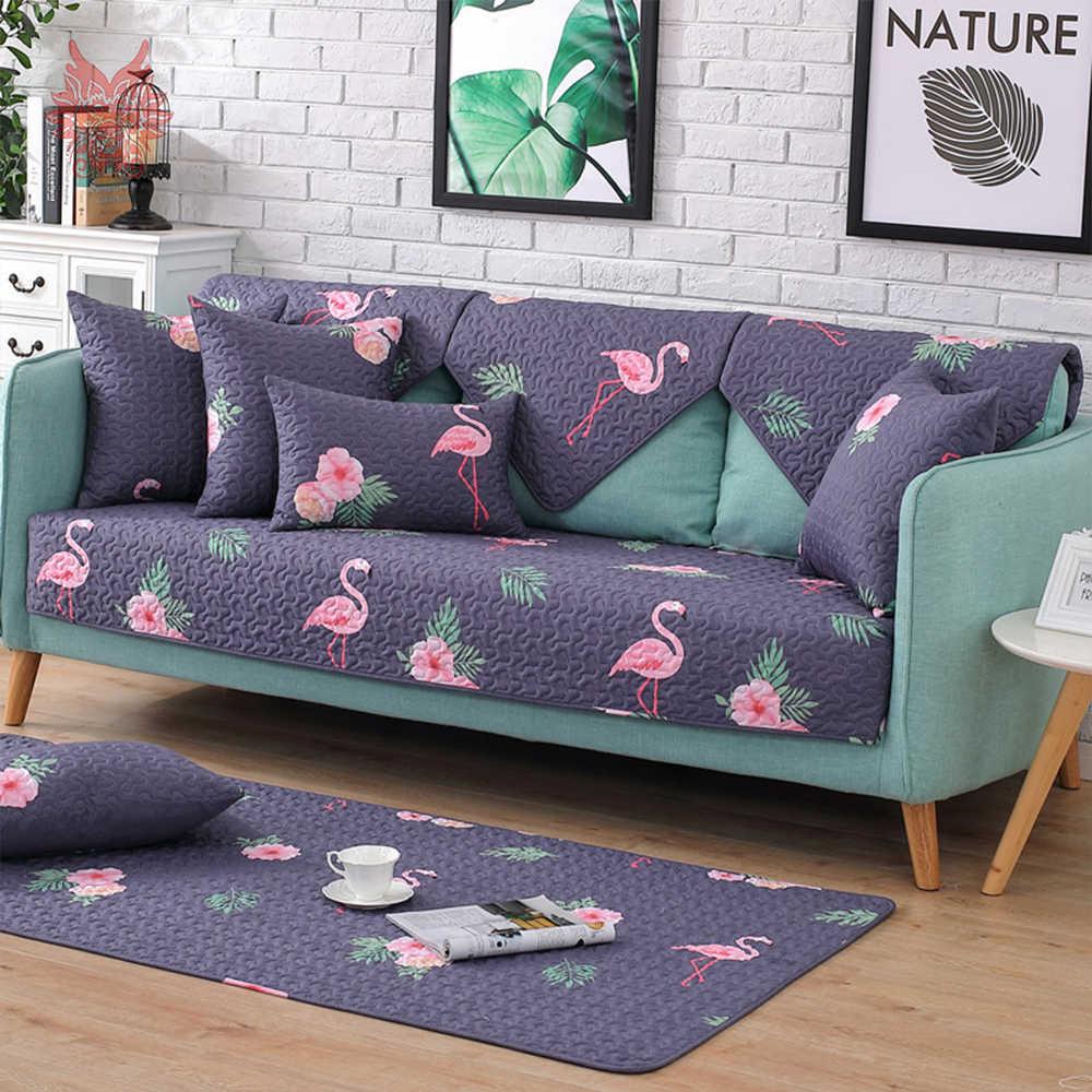 Дешевая китайская мебель крышка Фламинго печати хлопок стеганый секционный диван крышка для гостиной fundas de sofa slipcover SP5403