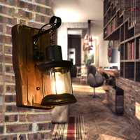 Solid Wood Wall Lamp Industrial Wall Light Loft Metal Old Wooden Home Lighing Rustic Luminaire For Bar Coffee Store G218