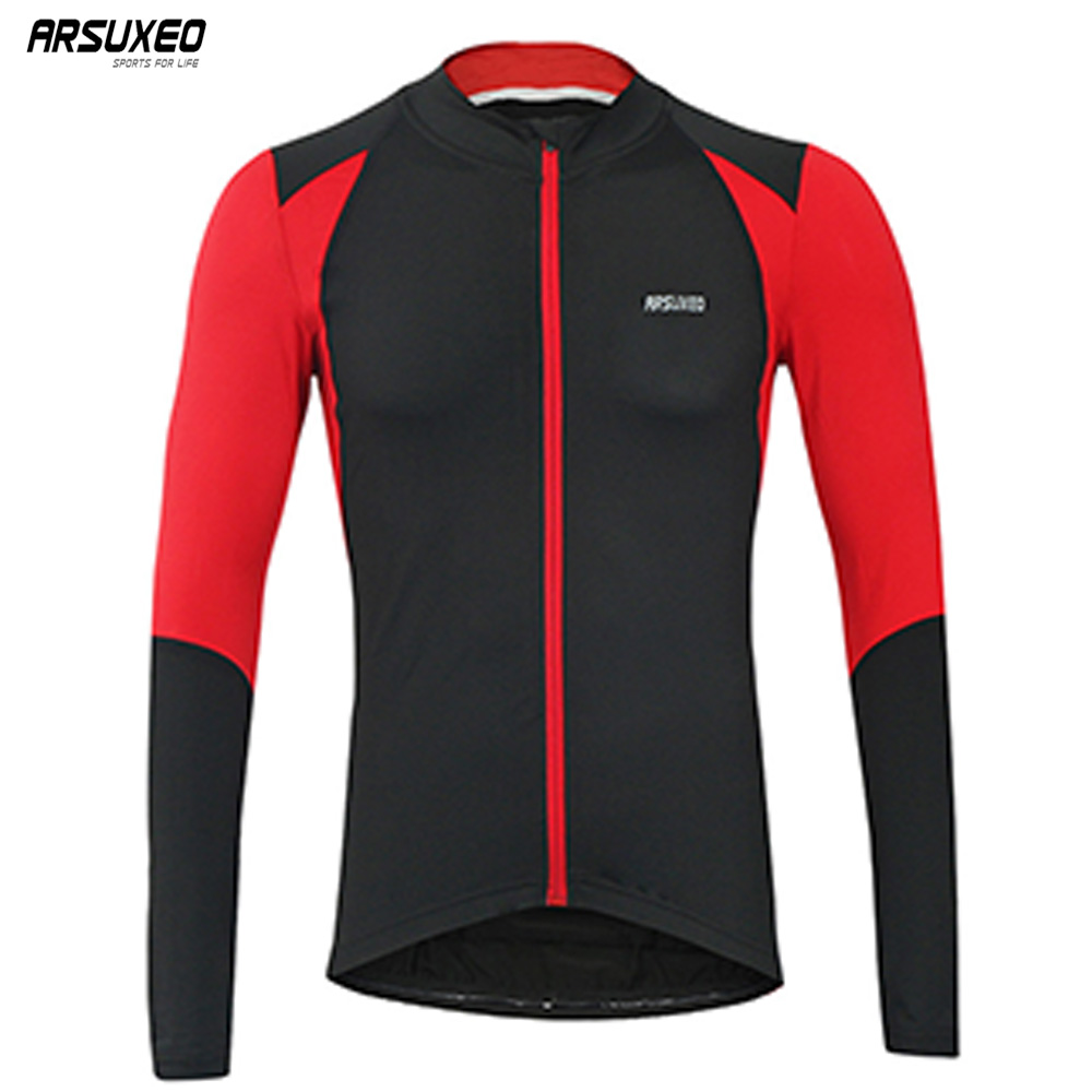 ARSUXEO Men's  Autumn Cycling Jersey Bike Bicycle Long Sleeves Slim Fit Compression MTB Clothing Bike Shirt Jersey 6023