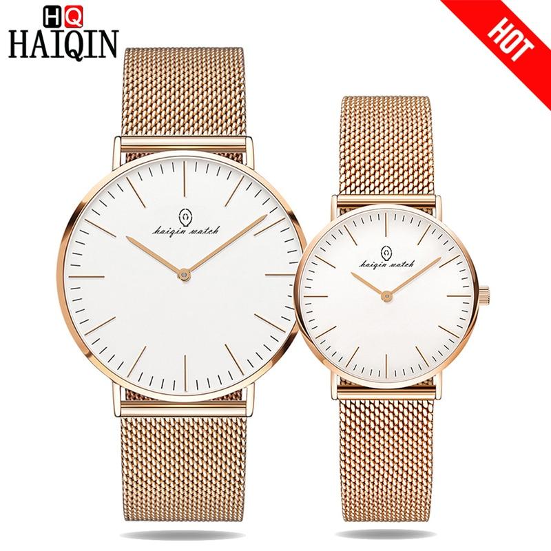 HAIQIN Ultra-thin 6MM Couple Watch Gold Metal Mesh Belt Watch Party Dress Men's Watch Luxury Women Watch Gifts Relogio Masculino