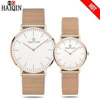 HAIQIN Ultra thin 6MM Couple Watch Gold Metal Mesh Belt Watch Party dress Men's watch luxury women watch Gifts Relogio Masculino