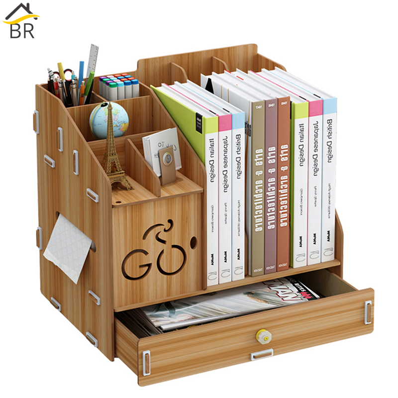 BR 24L Multifunctional Wooden Desk Organizer Office Desktop Storage Box Pen Holder School Stationery Supplies Book Hoder Paper
