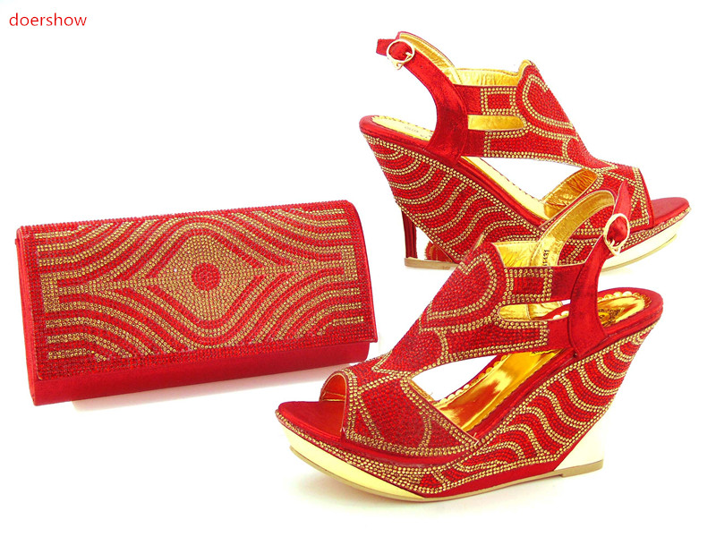 doershow Nice Italian Middle Heels Women Shoes and Bag Set Italian Wedding Matching African Shoes And Bag To Match Party DK1-1 doershow italian shoe and bag set african lady shoes matching wedding party dress for free shipping puw1 11