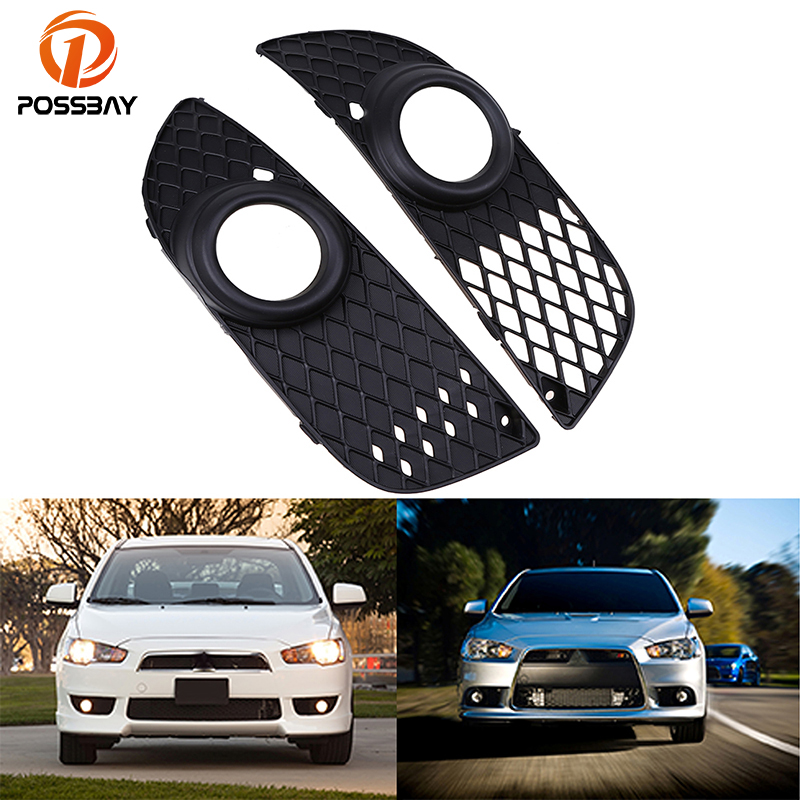 POSSBAY Fog Lamp Grille Front Lower Side Bumper Fog Light Covers for Mitsubishi Lancer 2008-2014 Car-styling Auto Vent Grilles car bi xenon projector fog lens front bumper lights for mitsubishi lancer ex 10 lancer 08 evo 10 ling yue v312