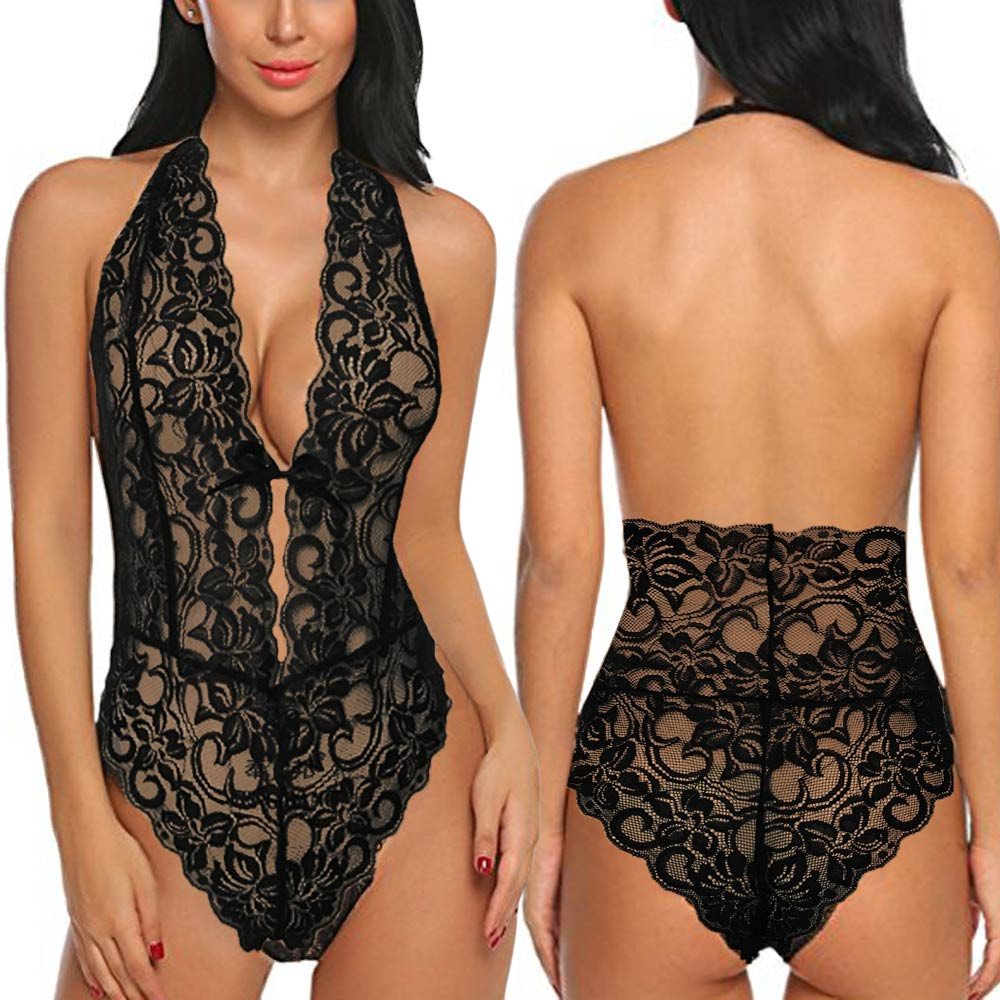 Women Bodysuits One Piece Backless Lingerie Lace V Neck Halter Babydoll women sexy erotic lingerie ropa interior sexy(China)