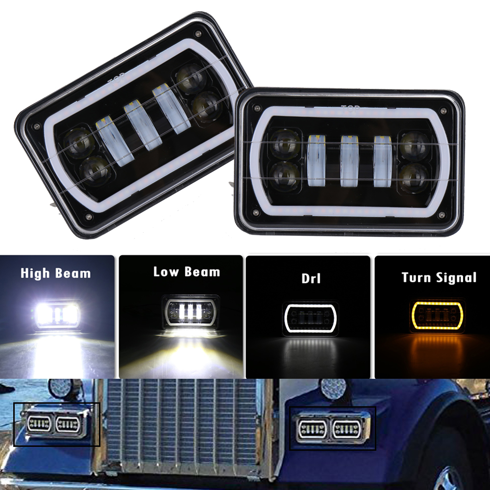 4X6 Led Square Headlight White Halo DRL Amber Turn signal Sealed high low Beam replacement For