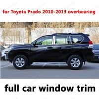 For Toyota Prado 2010 2013 Overbearing Full Window Trim Decoration Strips Stainless Steel Car Exterior Accessories