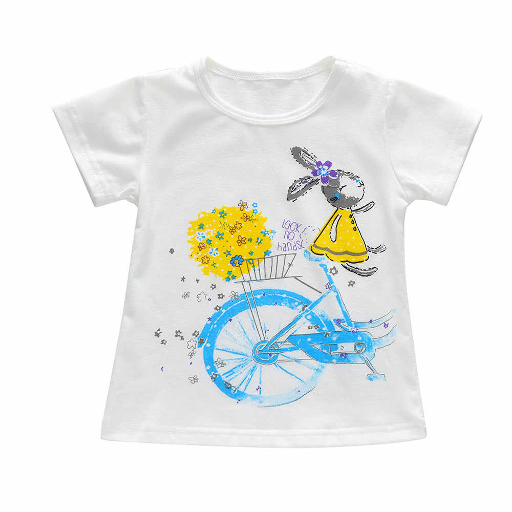 أطفال بنات يونيكورن تي شيرت 2019 الصيف طفلة ملابس علوية من القطن الأبيض تيز 1 2 3 4 5 6 7 سنوات ملابس الأطفال تي شيرت وتتسابق