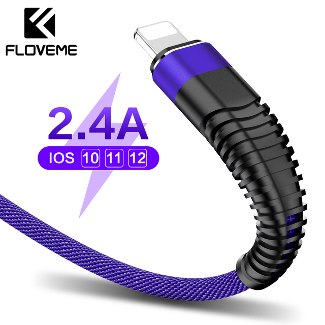 FLOVEME 2.4A USB Cable For iPhone X 7 Cable For Lightning To USB Charger Charging Cable Data Nylon Braid Lighting Cable For iPad