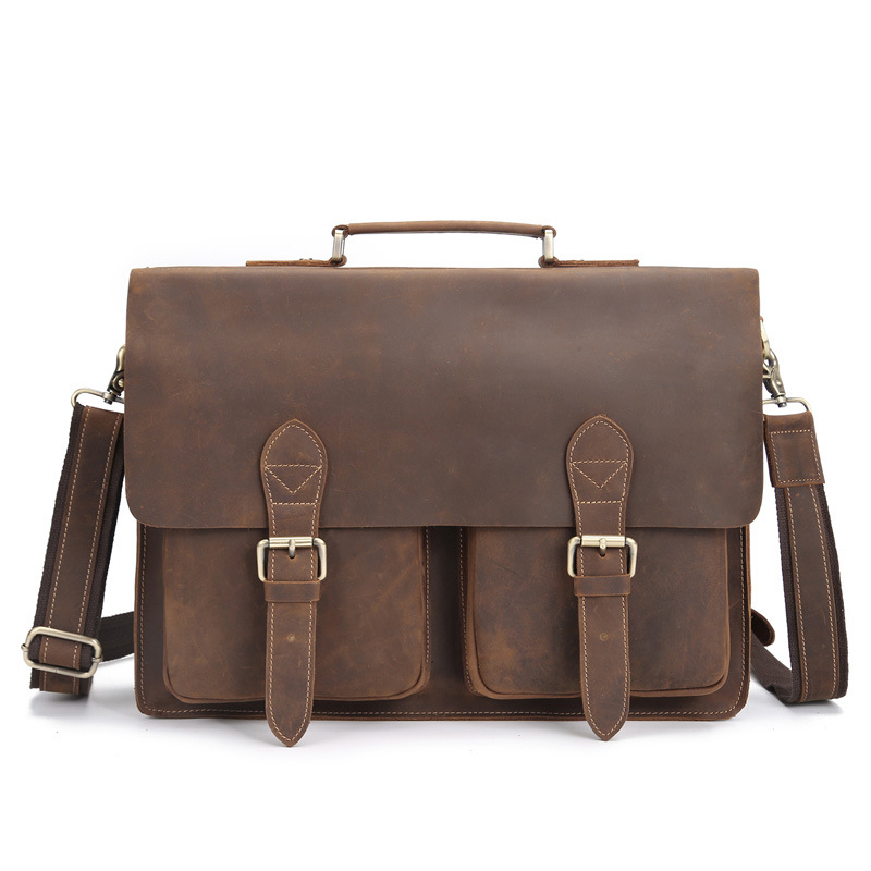 Genuine Leather Briefcase Men 15.6 Inch Laptop Business Portfolio Hand Bag  Vintage Crazy Horse Men s Messenger. sku  32949102555 0485e4c492cb0
