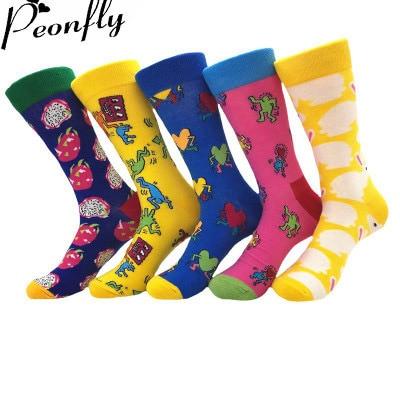 PEONFLY Combed Cotton Men Socks Colorful Jacquard Crew Happy Socks Monstera Leaf/Dinosaur Eggs Funny Socks