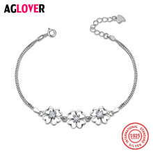Fashion Jewelry Authentic 925 Sterling Silver Austrian Crystal Four Leaf Clover Heart Charm Bracelets For Women Gift