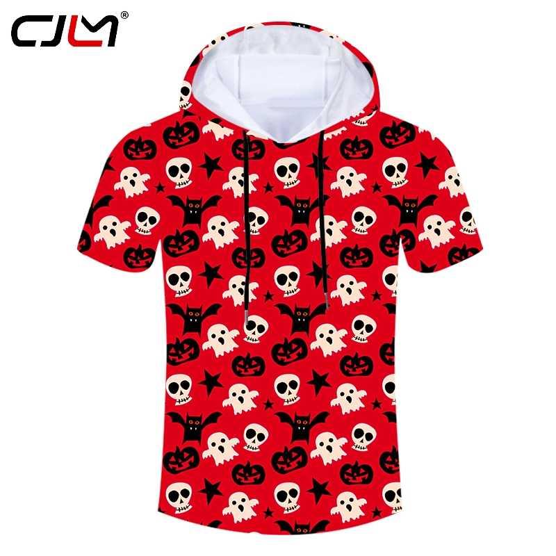 CJLM Хэллоуин прекрасная летучая мышь призрак мужская с капюшоном футболка 3D печатная красная тыква футболка с рисунком черепа рубашка мужская большой размер толстовки футболка