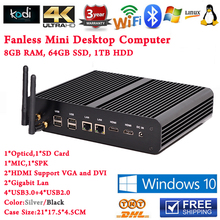 Thin PC Компьютеры Предустановленная Windows 10 Core i7 4500U Процессора 8 ГБ ОПЕРАТИВНОЙ ПАМЯТИ 64 ГБ SSD 1 ТБ HDD 2 HDMI 2 LAN WiFi Безвентиляторный Mini PC