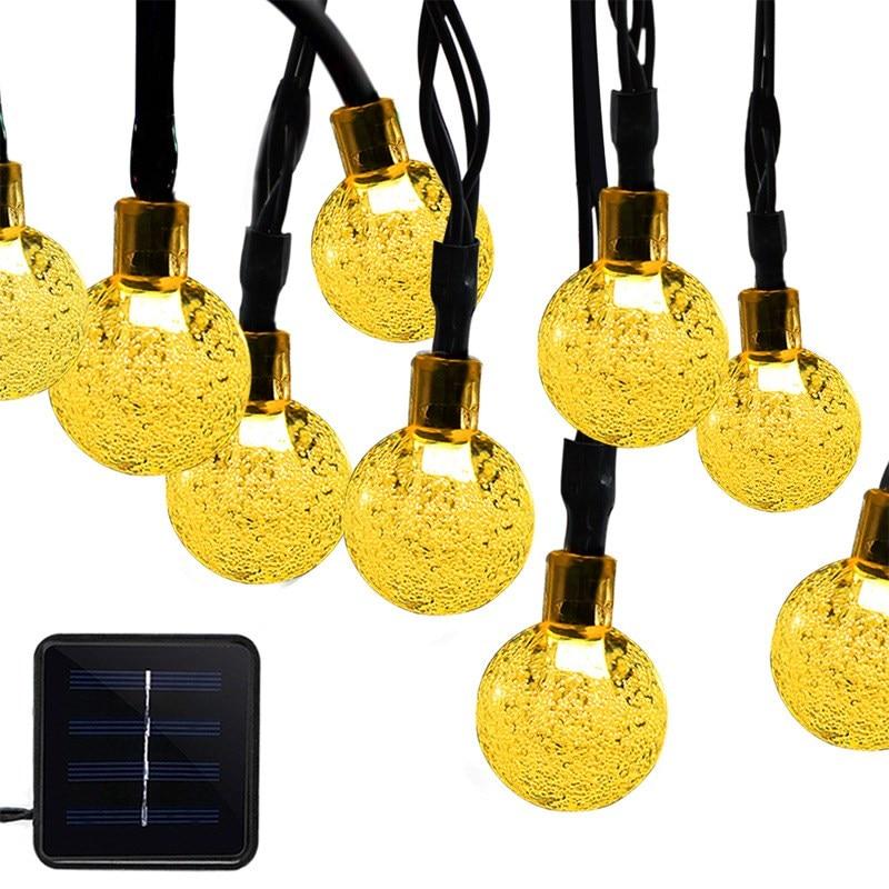 Solar String Light Outdoor 30 LED Crystal Ball Christmas Trees Garden Party Decor For Festival Fairy Lamp