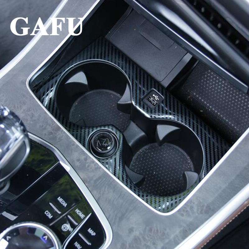 For BMW X5 G05 2019 Carbon fiber Car Accessories Interior Water Cup Holder Cover Trim in Chromium Styling from Automobiles Motorcycles